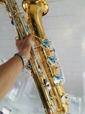 NEW Pro Baritone saxophone Eb Sax Gold Body Silver Plated Key Low A With case
