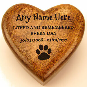 Ashes Box Pet Dog or Cat Urn Wood Heart Shaped Casket Cremation Box Personalised