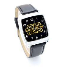 Reloj de Pulsera texto de la guerra de las galaxias Reloj de Pulsera Correa de Cuero Negro Square Kids hombres B