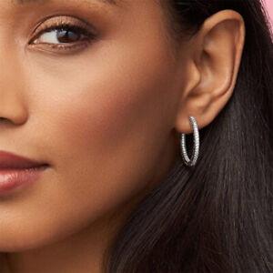 Genuine Pandora Sterling Silver Asymmetric Hearts of Love Hoop Earrings -297822!
