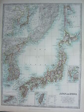 1910 MAP ~ JAPAN & KOREA TOKYO BAY FORMOSA PORT ARTHUR ~ JAPANESE EMPIRE