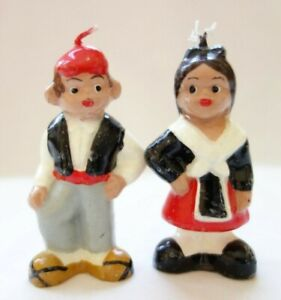 Vintage Wax Candle Man & Woman Couple Red Black & White Miniature Figures