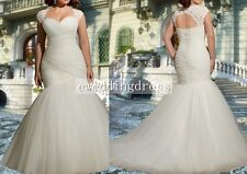 White/Ivory Tulle Mermaid Wedding Dress Bridal Gown Plus Size 18 20 22 24 26 28+
