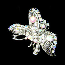 Clear AB BUTTERFLY made with Swarovski Crystal Bridal Wedding Pin Brooch Jewelry