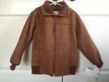 WIDGEON NWT Size 7 Boys Faux Suede Brown Jacket Coat Zip Up