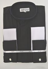 Mens Full Clergy Collar Priest Shirt Black French Cuff Long Sleeve Dress Shirt