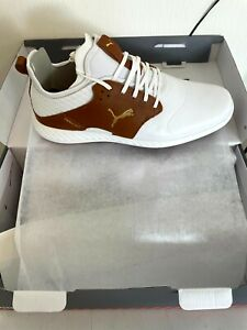 NEW 2021 PUMA PWRADAPT CAGED CRAFTED GOLF SHOES SIZE: 11 (WHITE/BROWN)