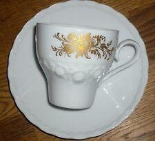 1 Kaffeetasse + Untertasse  Tirschenreuth  ALT  Weiss  Rose   Gold dekor