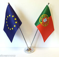 European Union EU & Portugal Flags Chrome and Satin Table Desk Flag Set