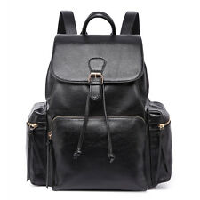 Ladies Girls Retro DESIGNER Oversize Backpack School College Travel Large Bag Black