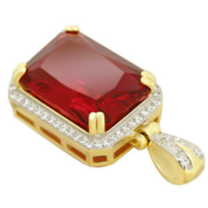 Created Ruby & Cubic Zirconia Cluster Pendant 14k Gold Over Sterling Silver