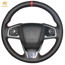 Black Genuine Leather Steering Wheel Cover Wrap for Honda Civic 10 2016