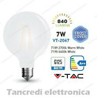 Lampadina led V-TAC 7W E27 VT-2067 G125 frost bianca filamento lampada opaca