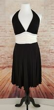 Ruby Rocks M Halter Fit & Flare Dress Black w/ Ruched White Bodice Lace Trim