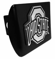 Ohio State Buckeyes Chrome Metal Black Hitch Cover (Chrome) NCAA Licensed