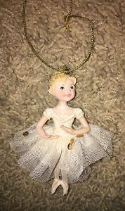 Girl Ballerina With Crown Sequins / Glitter Dress Christmas Ornament