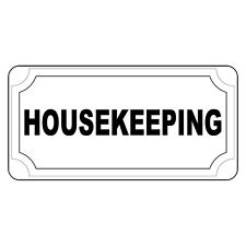 Housekeeping Black Retro Vintage Style Metal Sign - 8 In X 12 In With Holes
