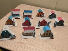 Vintage Lot of 11 Cardboard Putz Christmas Houses Japan Mica Bottle Brush Trees