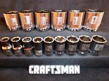 Craftsman 15pc 1/2 SAE 6pt LASER ETCHED Sockets Set Tools INCH STD Point Drive