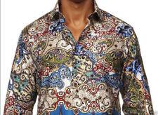 Robert Graham Beautiful Jewel Toned Printed Embroidered Cuffs Mens 2XL Shirt NEW