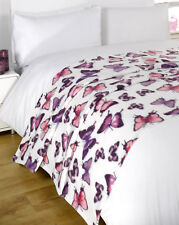 Dreamscene Warm Soft Butterfly Purple Fleece Throw Over Bed Blanket 120 x 150cm