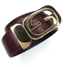 Vtg Gucci Belt Reversible Black Burgundy Leather Gold Tone G Logo Buckle S 28