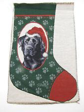 Black Lab Dog Paw Christmas Stocking Present Sock Picken ~ Tapestry Fabric Panel