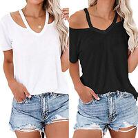 UK Womens Cold Shoulder T-shirt Summer Ladies Halter neck Blouse Tops Plus Size