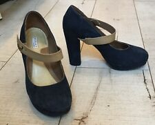 💝RADLEY Navy Suede Mary Jane Shoes Platforms Chunky EUC 38 UK 5