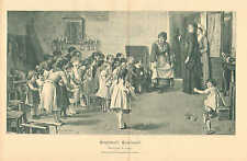 Children, Learn To Curtsey, Complimenti, Vintage 1890 German Antique Art Print