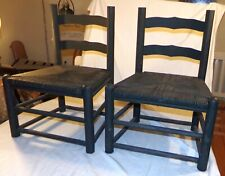 Vtg Wood Wooden Short Chairs Childs Childrens Sturdy Woven Seats 2 pcs Black
