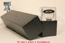 25 BCW Assorted Coin Snap Holder Capsule & Single Row Storage Box BLACK 9x2x2