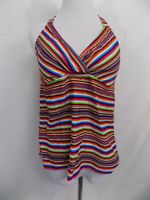 NWOT Mossimo Tankini Swimsuit Top Red with Colorful Stripes Halter Womens M L