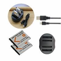 2 Battery +USB Charger  for Sony Cyber-shot DSC-W730 DSC-W800 DSC-W810 DSC-W830