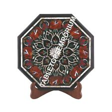 """12"""" Black Marble Coffee Kitchen Table Top Marquetry Inlay Furniture Decor M074"""