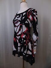Style & Co. Petite Embellished Geometric Print Studded Asymmetrical Top PS #2445