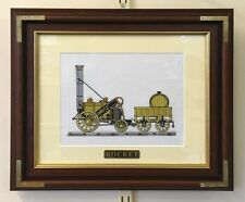 Rocket Train Railway Steam Locomotive Wooden Framed Embroidered Picture