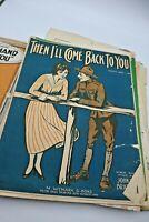 Vintage Sheet Music Lot of 25+ Fair shape 1920s Military WW1 Ephemera LOVE SONGS