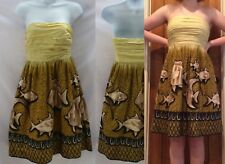 Anthropologie Baxter Bay Fish Dress By Vanessa Virginia  Size 2 Yellow Cotton