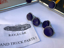 VINTAGE STYLE BLUE REFLECTOR LICENSE PLATE FASTENERS .