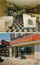 1950s Flair Restaurant Interior Entrance Sault Ste Marie Michigan postcard 9376