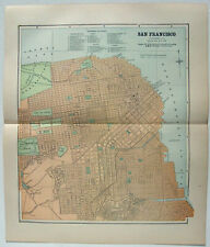 San Francisco - Original 1891 Street & Railroad Map Hunt & Eaton. Antique