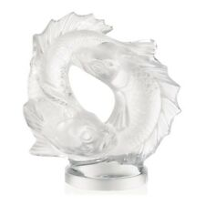 LALIQUE DOUBLE FISH FIGURE BNIB #10571800 CARP FRENCH CRYSTAL SIGNED MOTIF F/SH