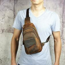 vintage Men's real Leather chest bag Business Casual Outdoor Sling Bag