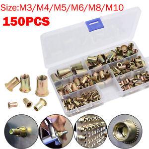 150x Mixed Rivnuts Blind Set Rivet Nut Tool Threaded Nuts M3-M10 Anti-oxidation