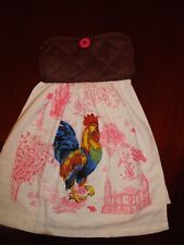 Pretty in  Pink Rooster Hanging Kitchen Towel.  Oven Door Dish Towel