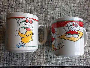 2 New 1991 Dayton-Hudson SANTA BEAR Miss Bear & Bully bear mugs