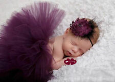 Newborn Girl Baby Photography Props Outfits Bow Tutu Skirts Flower Headdress