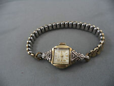 Vintage Ladies Watch 10k Gold Plate Diamonds Benrus Watch Co Working Art Deco
