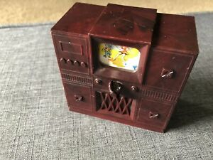 Ideal TELEVISION W/ ROTATING SCREEN Vintage Dollhouse Furniture Renwal Plastic
